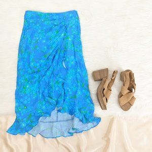 4SI3NNA Blue With Green Floral Maxi Wrap Skirt